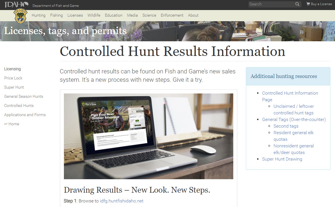 Idaho Controlled Hunt Results webpage image